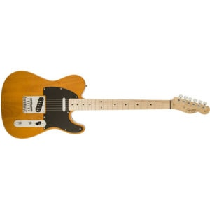 Squier by Fender 6 String Solid-Body Electric Guitar, Right Handed, Butterscotch