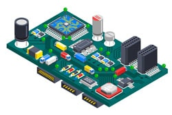 Circuit board isometric concept